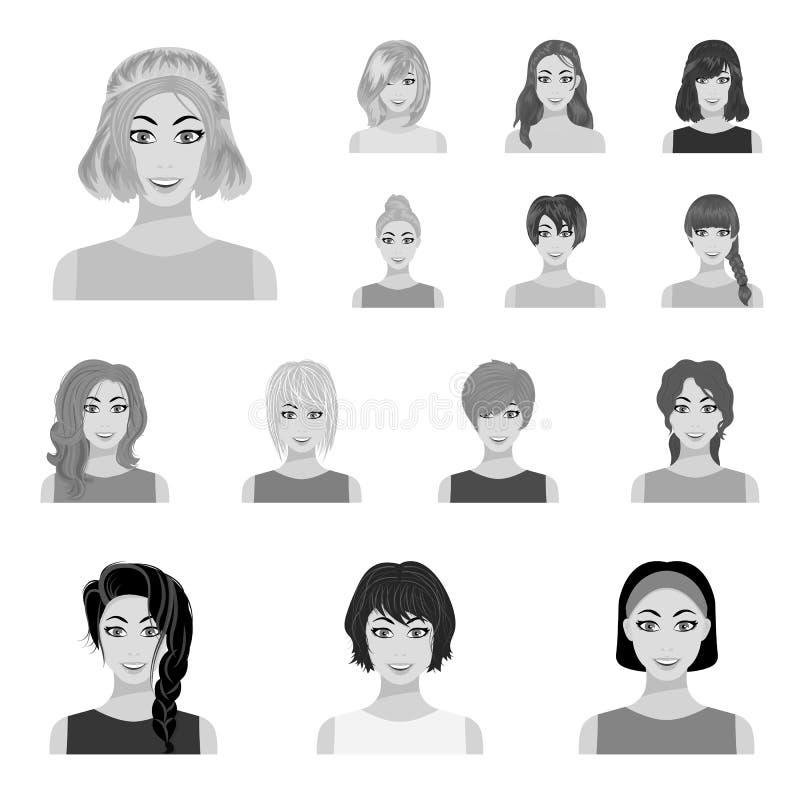 Types d'icônes monochromes de coiffures femelles dans la collection d'ensemble pour la conception Aspect d'un Web d'actions de sy illustration de vecteur