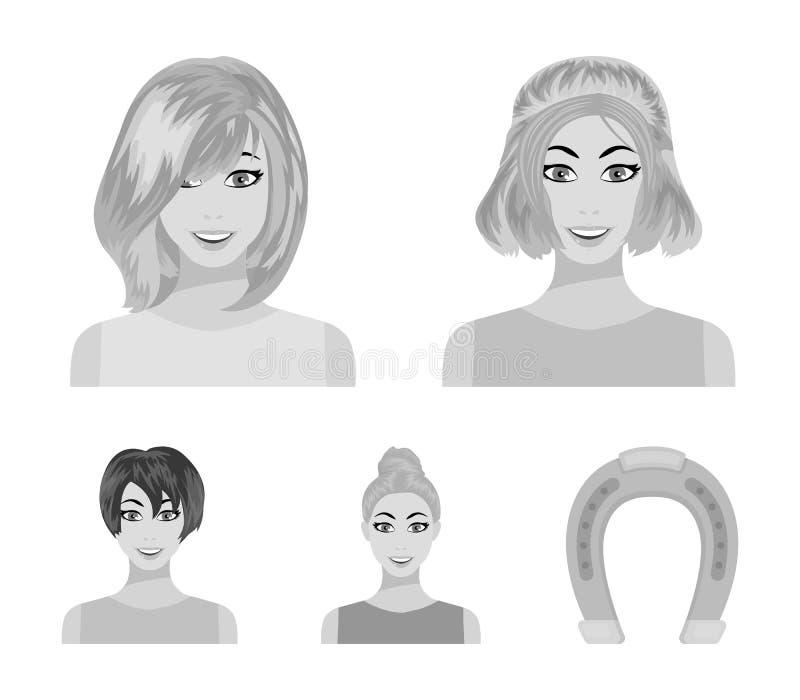Types d'icônes monochromes de coiffures femelles dans la collection d'ensemble pour la conception Aspect d'un Web d'actions de sy illustration stock