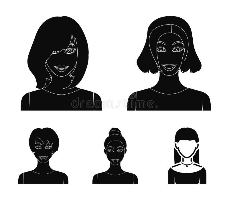 Types d'icônes noires de coiffures femelles dans la collection d'ensemble pour la conception Aspect d'un Web d'actions de symbole illustration stock