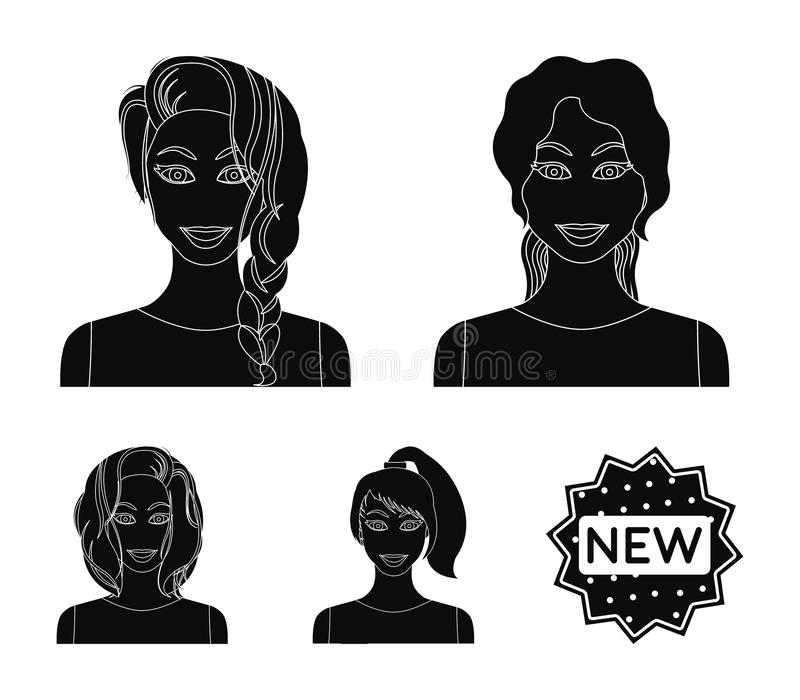 Types d'icônes noires de coiffures femelles dans la collection d'ensemble pour la conception Aspect d'un Web d'actions de symbole illustration libre de droits