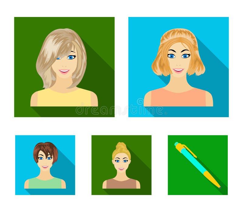 Types d'icônes plates de coiffures femelles dans la collection d'ensemble pour la conception Aspect d'un Web d'actions de symbole illustration libre de droits