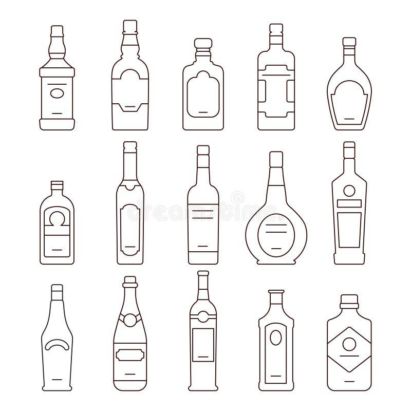 Types de bouteilles de boissons d'alcool d'icônes de vecteur réglées illustration stock