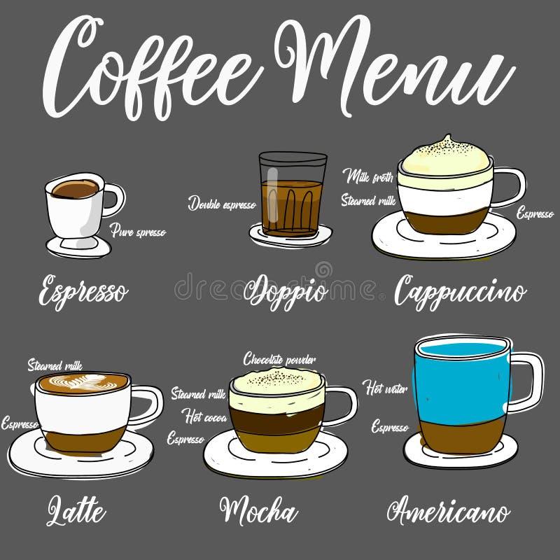 Types de café chaud je illustration stock