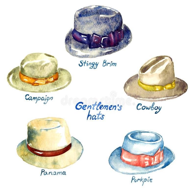 Types de chapeaux du ` s de messieurs illustration de vecteur