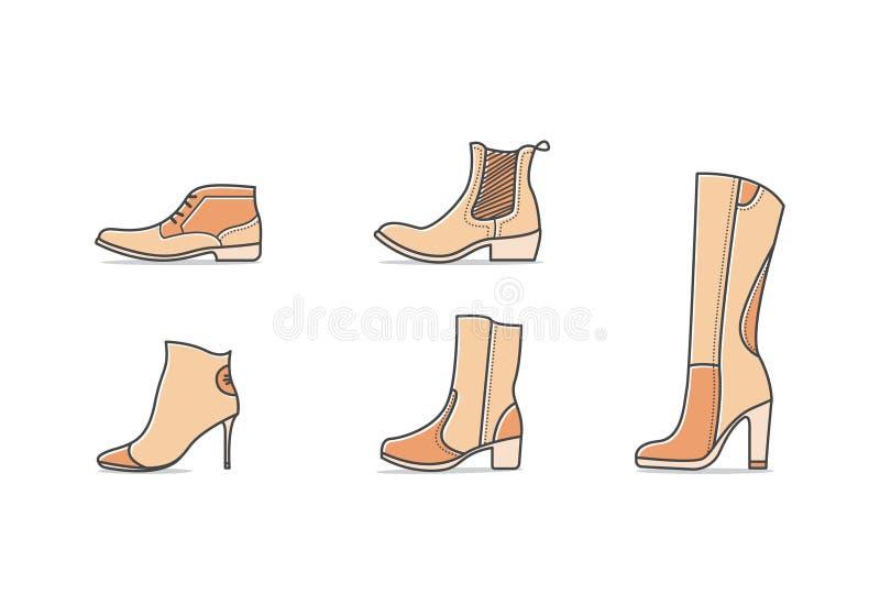 Types de chaussures illustration de vecteur