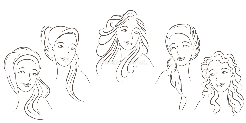 Types de cheveu illustration stock