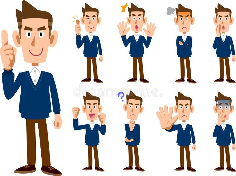9 types de corps entier masculin de _réglé d'expression et de pose illustration stock