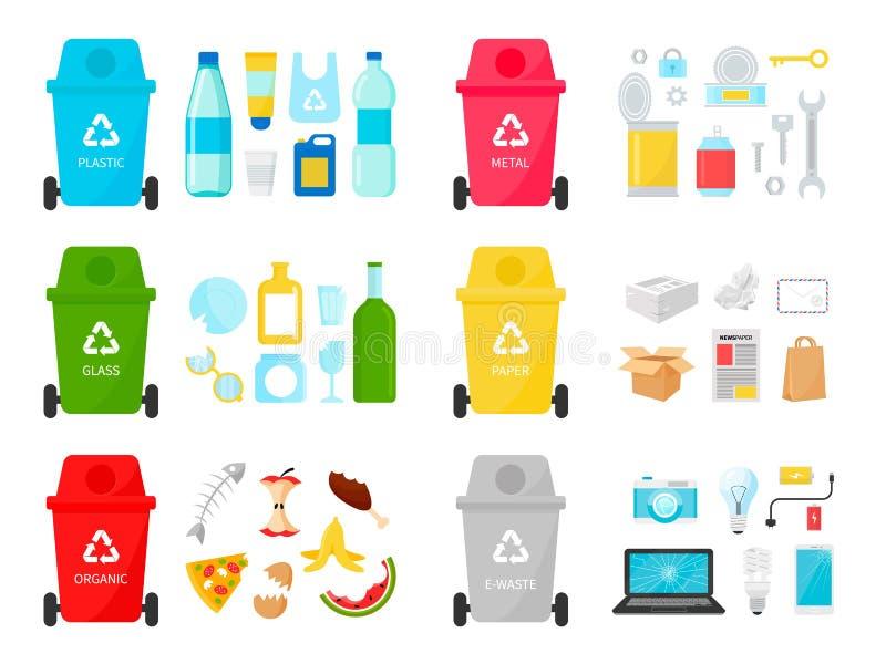 Types de déchets réutilisant l'illustration écologique de vecteur illustration stock