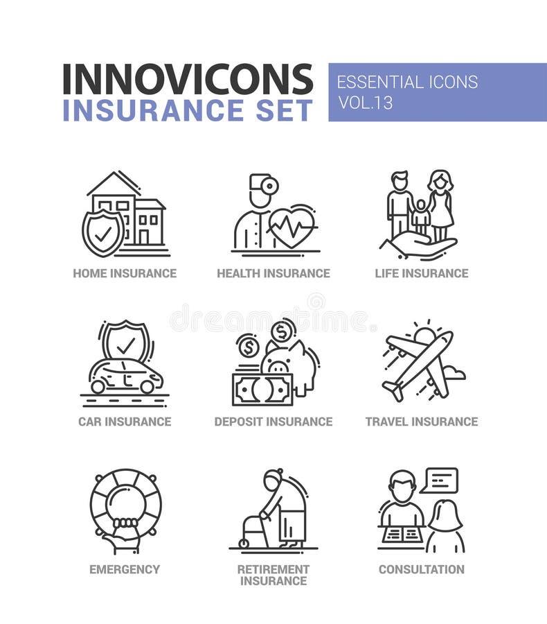 Types de ligne icônes d'assurance de conception réglées illustration stock