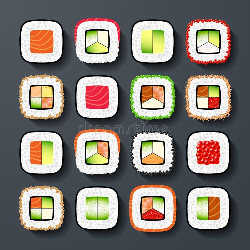 Types de sushi de Maki illustration libre de droits