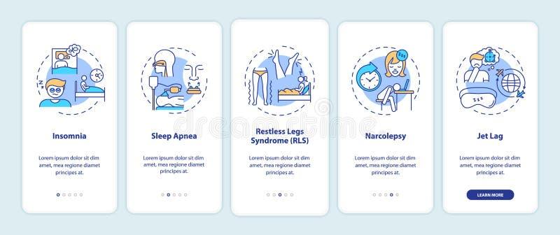 Types de troubles du sommeil onboarding l'écran mobile de la page d'application avec des concepts illustration de vecteur