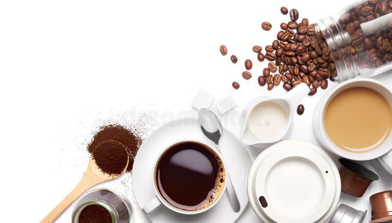 Types de variété de café et d'ingrédients photos stock