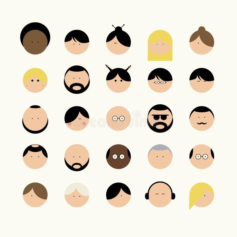 Types de visages d'icônes différents de personnes illustration de vecteur