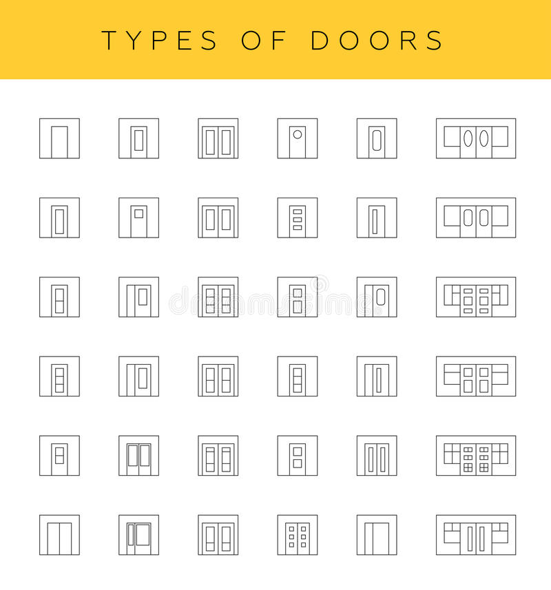 Types of doors stock illustration illustration of for Different types of interior doors