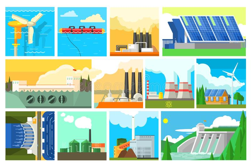 Types of electricity generation plants and alternative energy sources. Electricity production stations. Colorful flat. Types of electricity generation plants and vector illustration