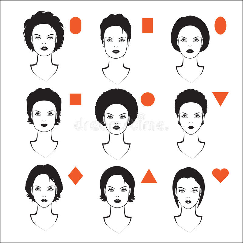 types of face shape royalty free illustration
