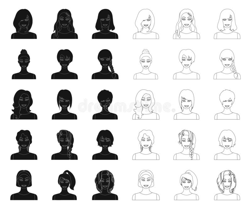 Types of female hairstyles black,outline icons in set collection for design. Appearance of a woman vector symbol stock royalty free illustration