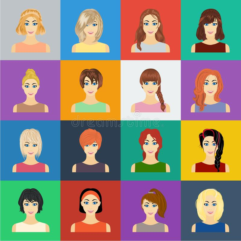 Types of female hairstyles cartoon icons in set collection for design. Appearance of a woman vector symbol stock web vector illustration
