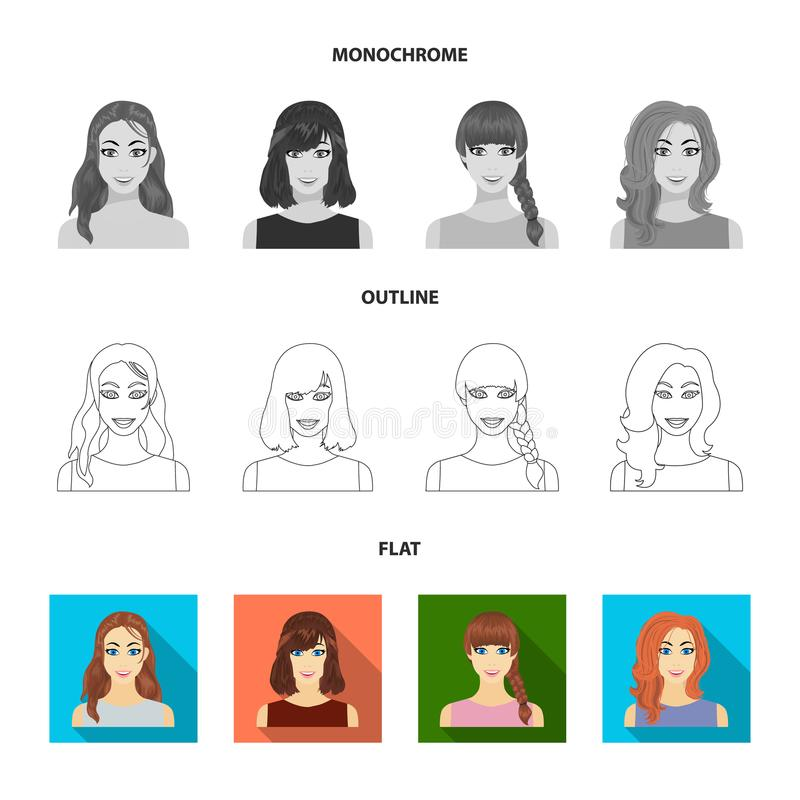 Types Of Female Hairstyles Flat,outline,monochrome Icons In Set ...