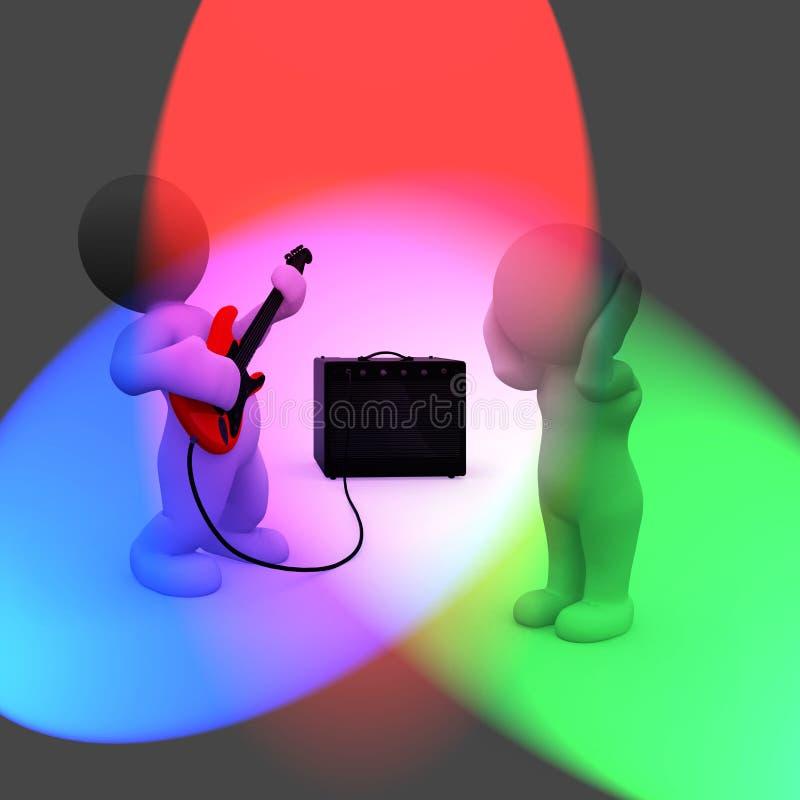 Types futés faisant la musique fort illustration libre de droits