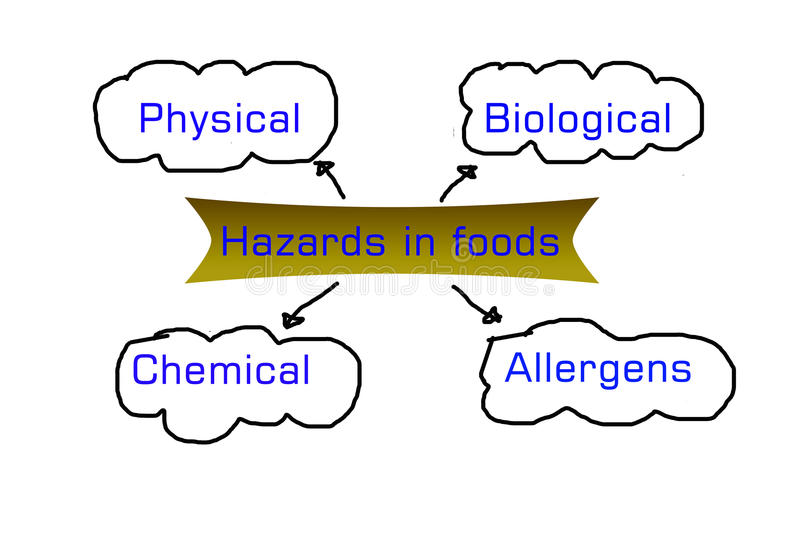 Types of hazards that can be found in food products vector illustration