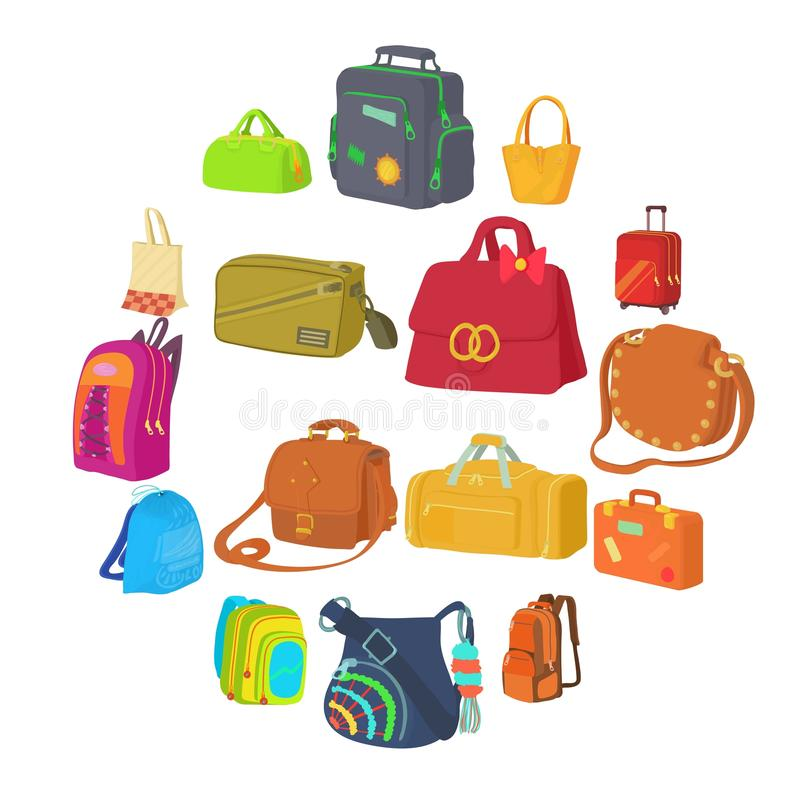Types icônes réglées, style plat de sac illustration stock