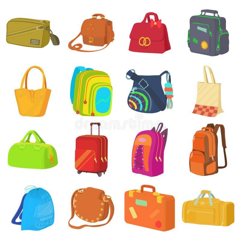 Types icônes réglées, style plat de sac illustration de vecteur