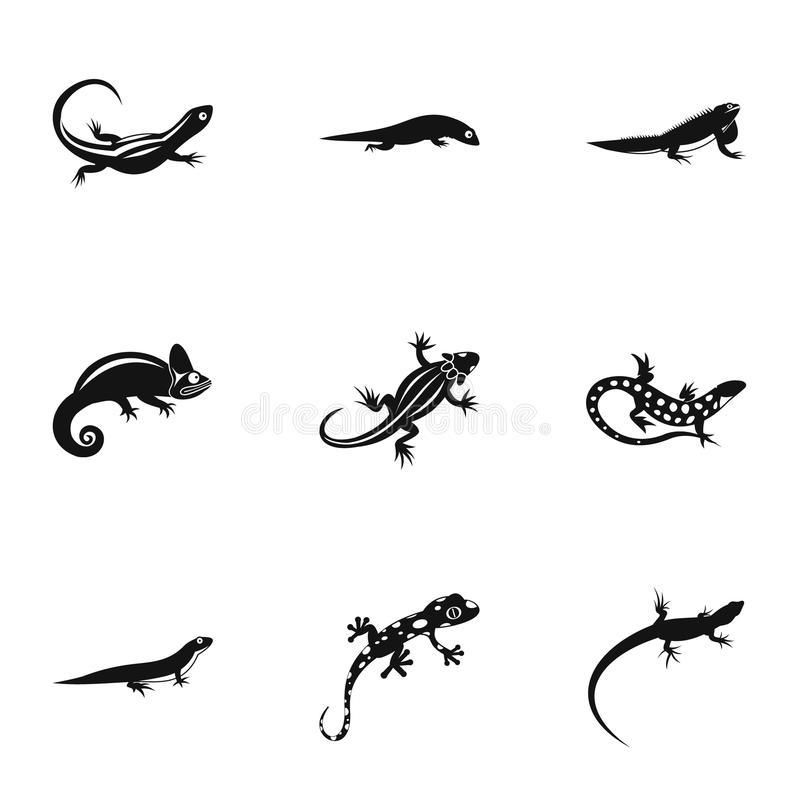Types of iguana icons set, simple style. Types of iguana icons set. Simple illustration of 9 types of iguana icons for web stock illustration