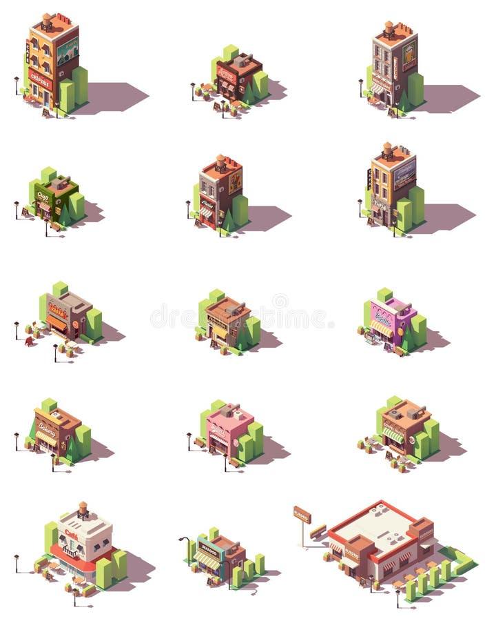 Types isométriques icônes de restaurants de vecteur illustration libre de droits