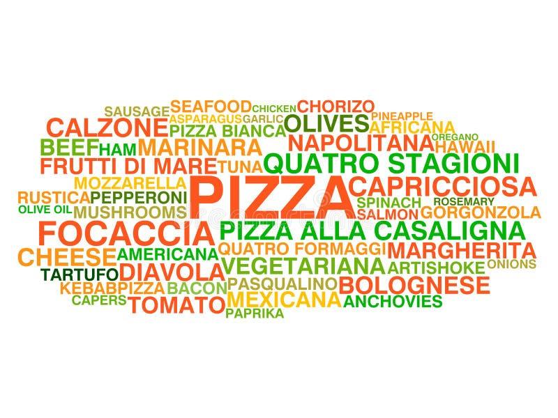 Types italiens traditionnels de pizza illustration de vecteur