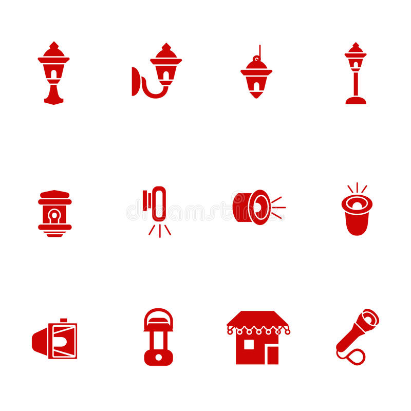 Types Of Lighting For Outdoor Use As Glyph Icons Stock
