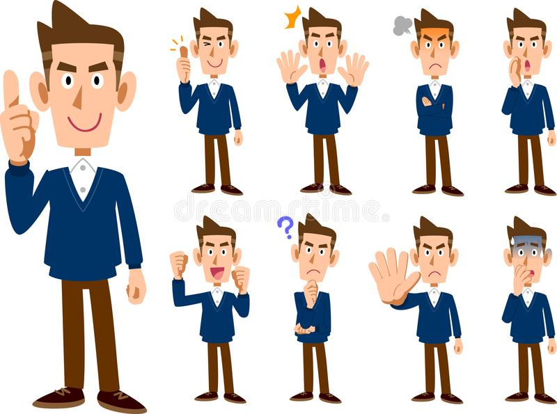 9 types of male expression and pose set _ whole body. The image of 9 types of male expression and pose set _ whole body stock illustration