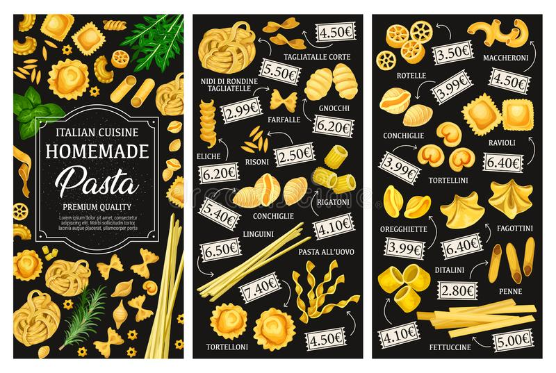 Types menu, cuisine italienne de pâtes illustration libre de droits