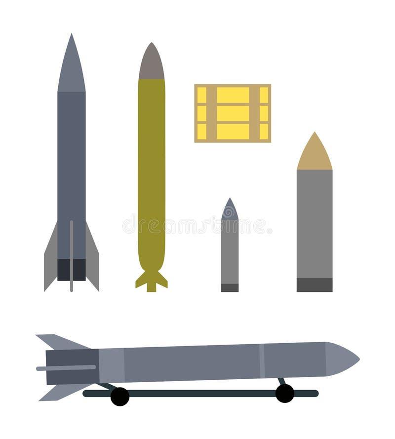 Types militaires de munitions d'isolement sur le blanc illustration de vecteur