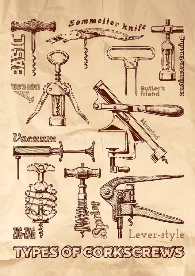 Free Types Of Corkscrews Stock Image - 161819901