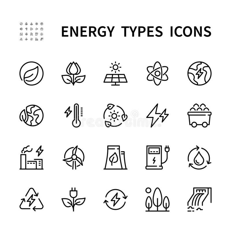 Free Types Of Energy Vector Line Icons. Isolated Icon Collection Of Energy Types For Web Sites On White Background. Energy Royalty Free Stock Photography - 214105847