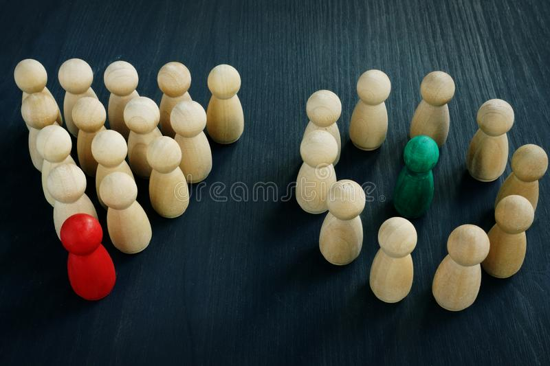 Types of organizational structure of company. Traditional and flat hierarchy. Concept royalty free stock photo