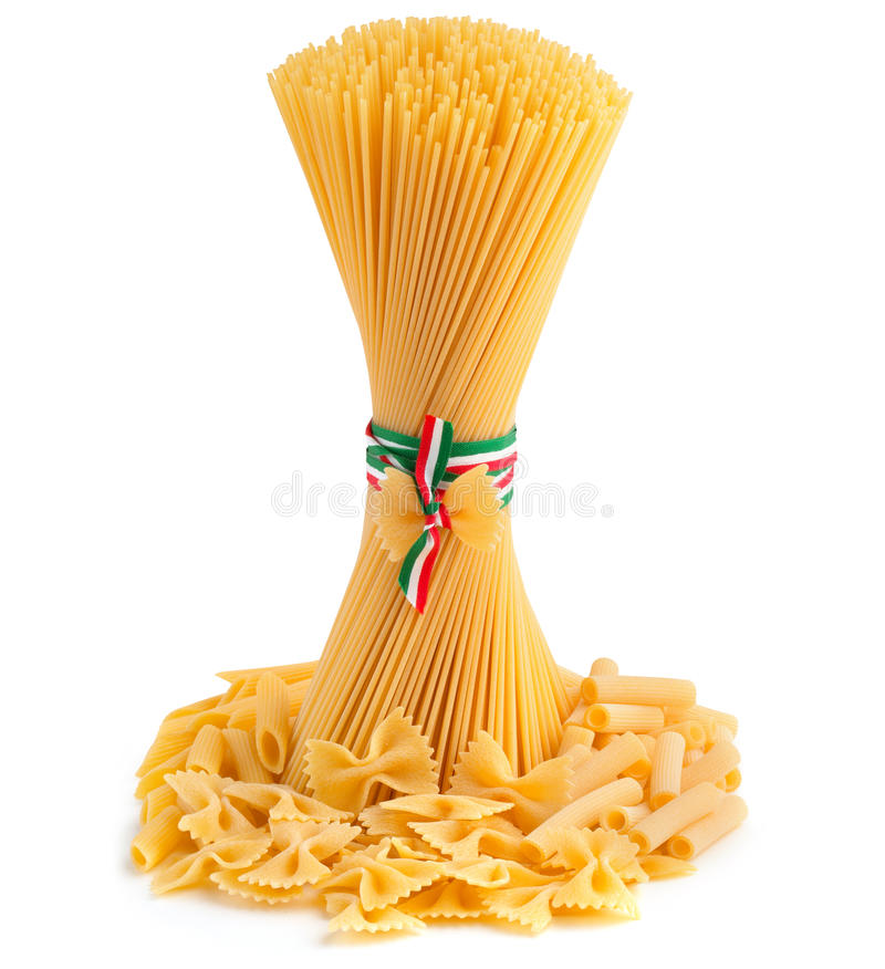 Types of pasta. Bunch of spaghetti and pasta type on white background royalty free stock images