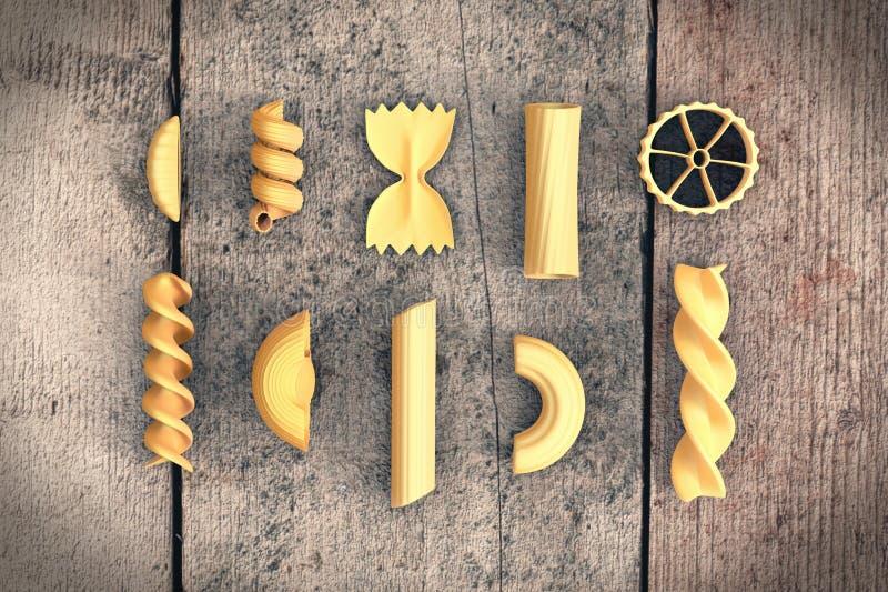 Types of pasta royalty free illustration