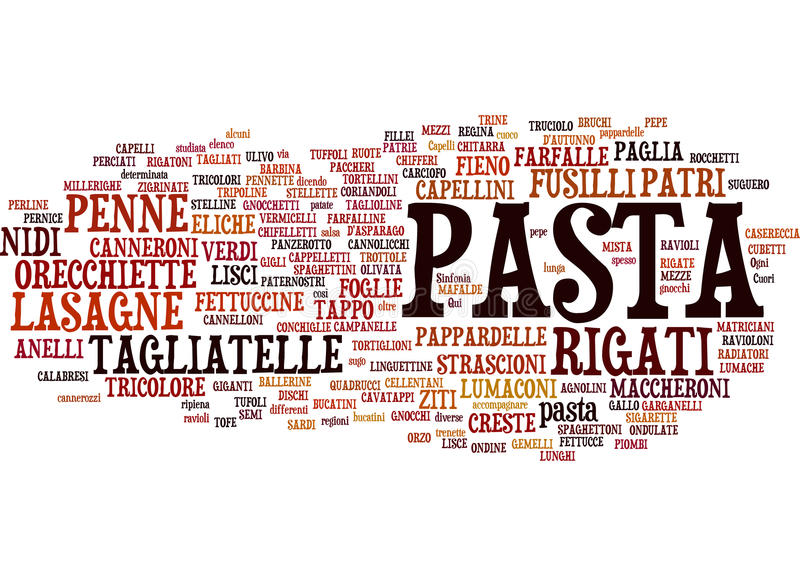 Download Types of pasta text cloud stock vector. Image of vermicelli - 16873245