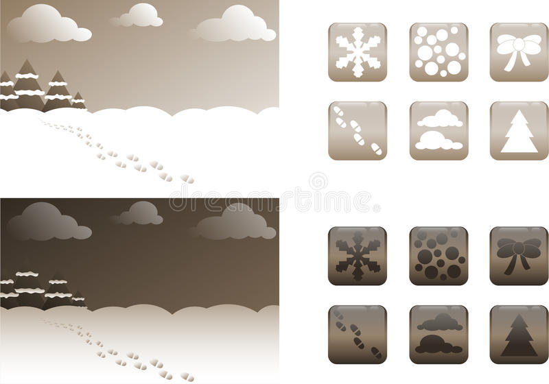2 types of retro Christmas backgrounds and buttons / icons royalty free stock image