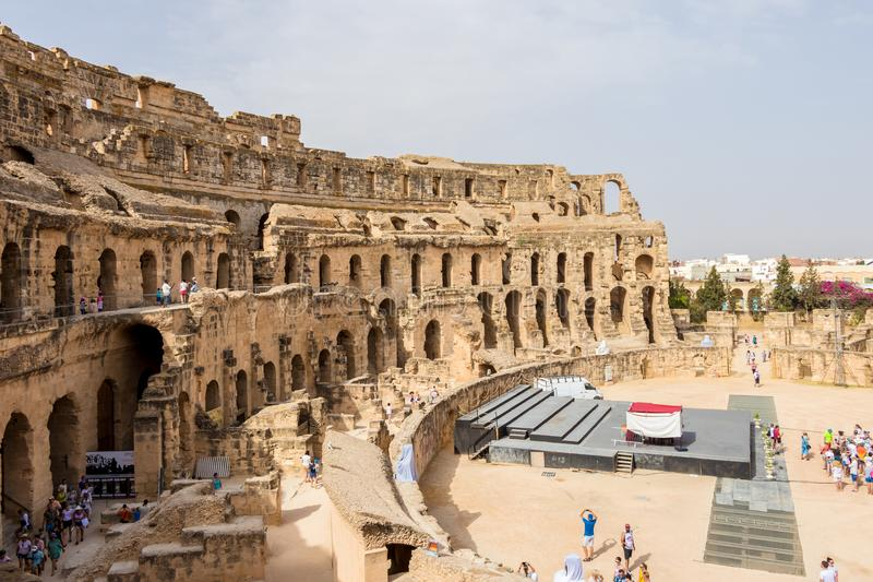Types of Roman amphitheatre in the city of El Jem, Tunisia royalty free stock image