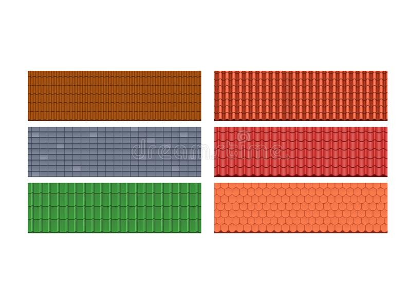 Types roof tiles, roofs for house, different colors, textures, materials. royalty free illustration