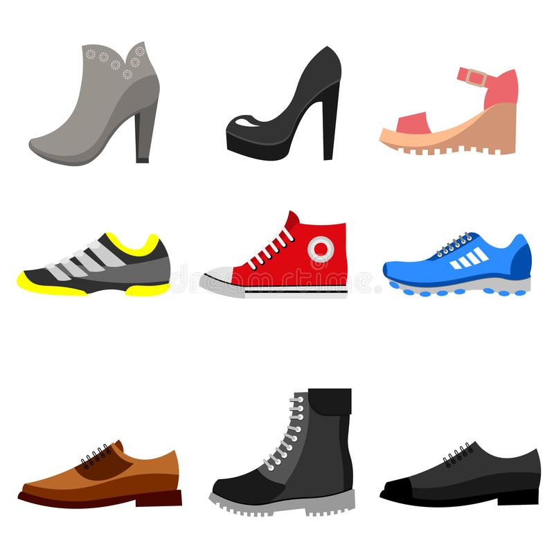 Types of shoes icons set. stock illustration