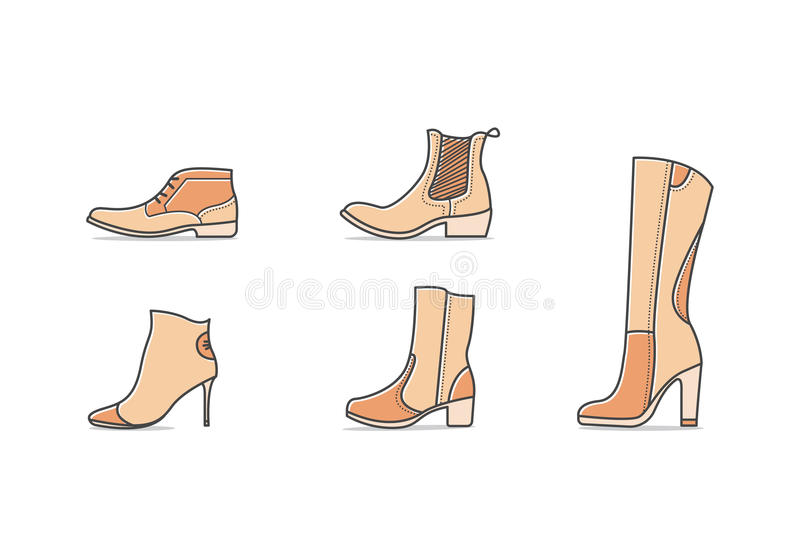 Types of shoes. Set of different types of footwear. Five icons kinds of shoes . Brown signs. Vector illustration of woman fall and winter shoes vector illustration