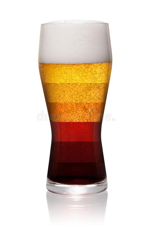 Types or styles of beer. Different types of beer shown in one glass isolated on white background. With clipping path stock photos