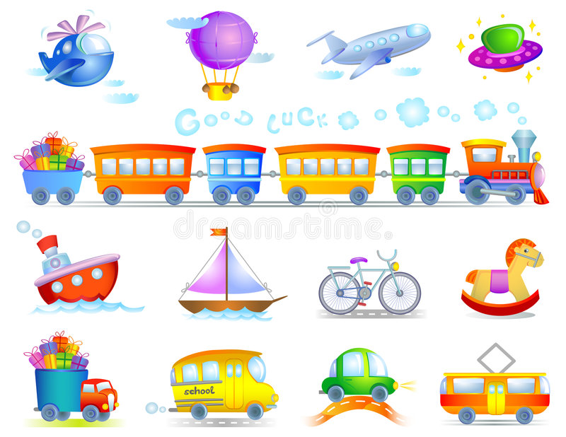 Types of transport royalty free illustration