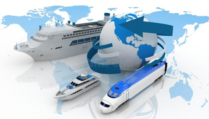 Types of transport for a cruise stock photo