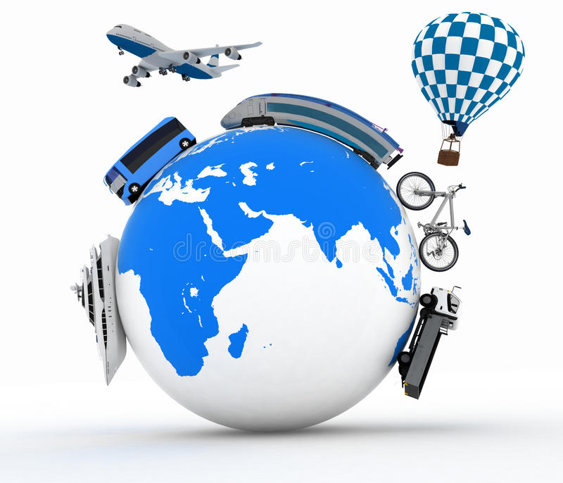 Download Types Of Transport On A Globe. Concept Of International Tourism Stock Illustration - Image: 36375325