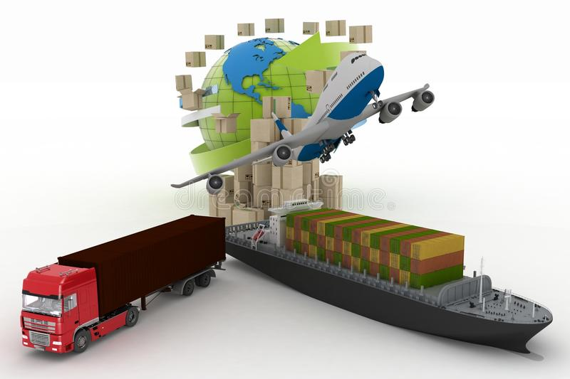 Types of transport of transporting are loads stock illustration